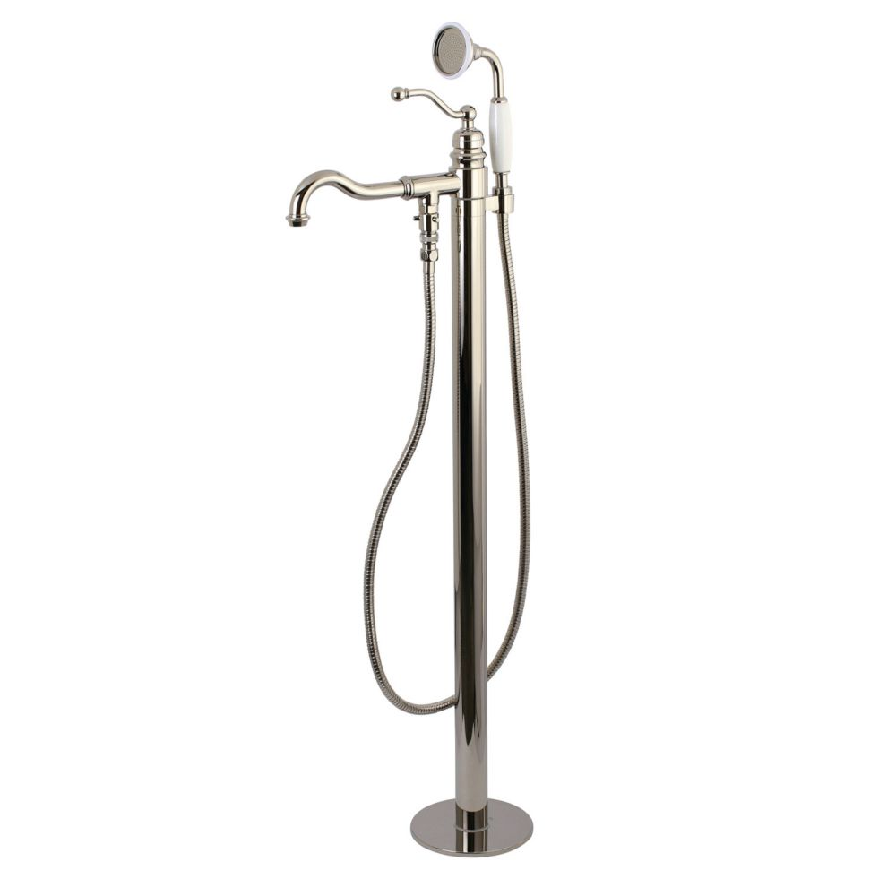 robinet de baignoire sur pieds style anglais a levier unique et douchette nickel poli