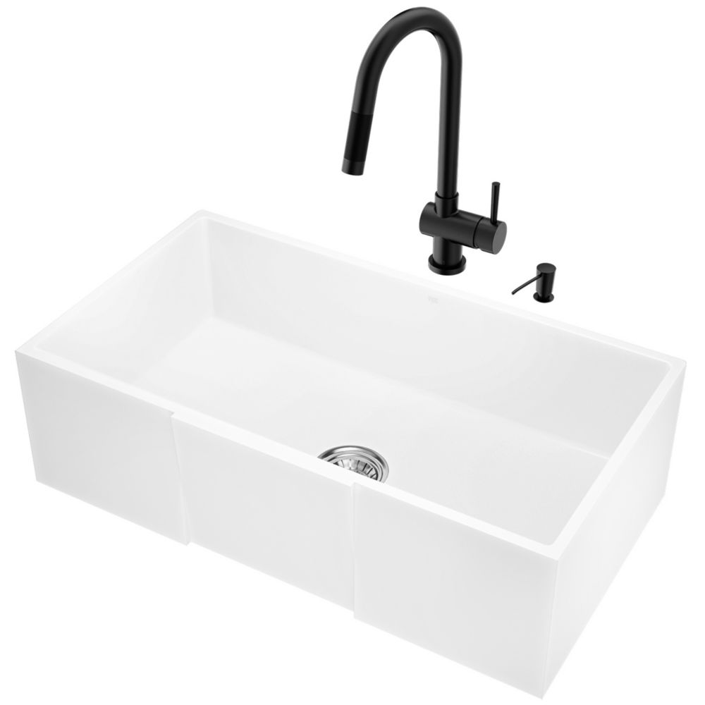 all in one 33 in farmhouse apron front matte stone kitchen sink and faucet set in matte black