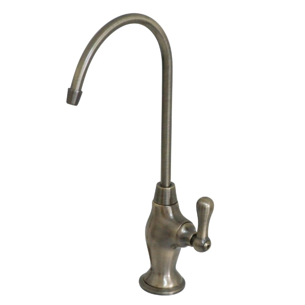 drinking water filtration faucet in vintage brass