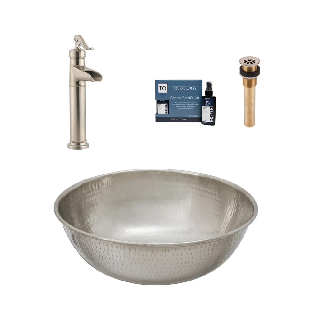 bohr all in one vessel nickel bath sink design kit with pfister faucet and drain