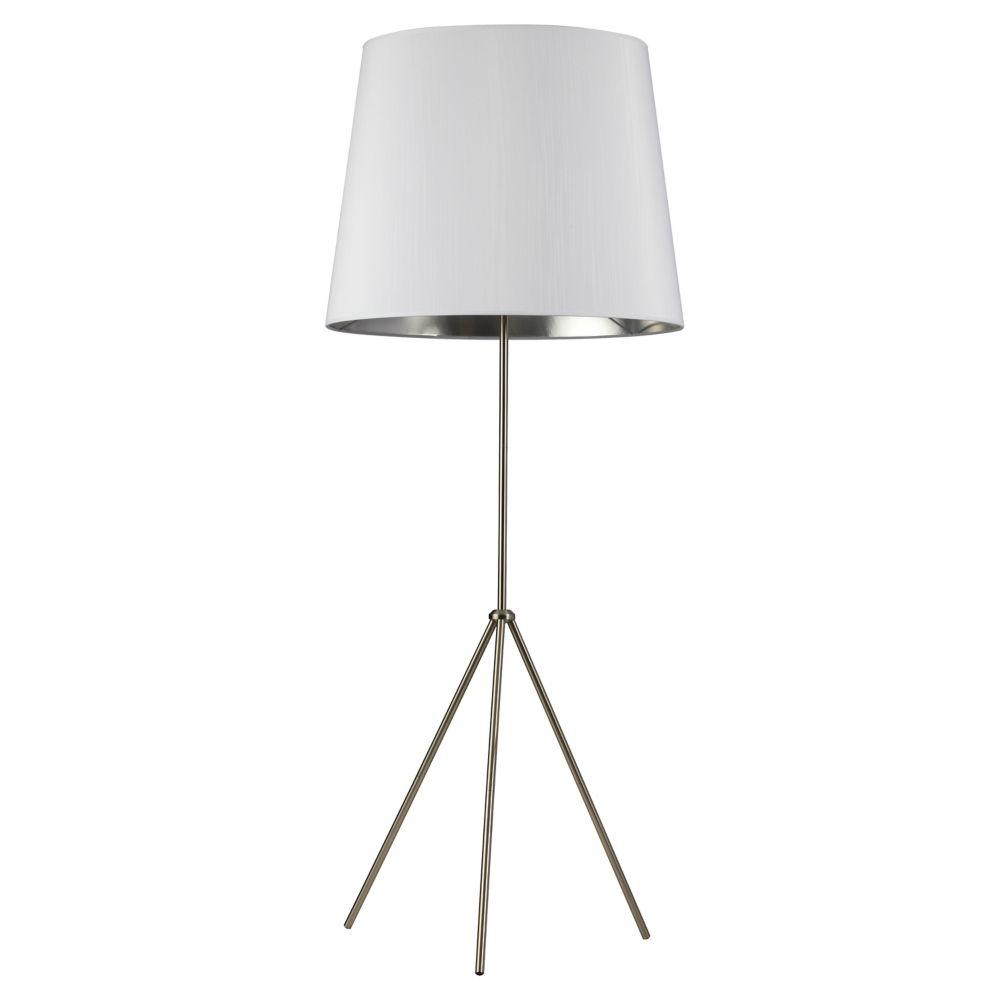 lampadaire sur pied a 3 ampoules surdimensionne tambour abat jour blanc sur argent chrome satine