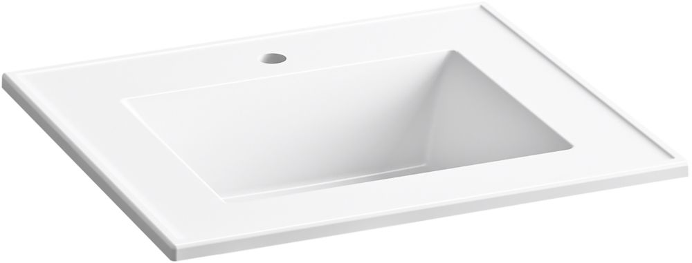 ceramic impressions 25 inch rectangular vanity top bathroom sink with single faucet hole in white