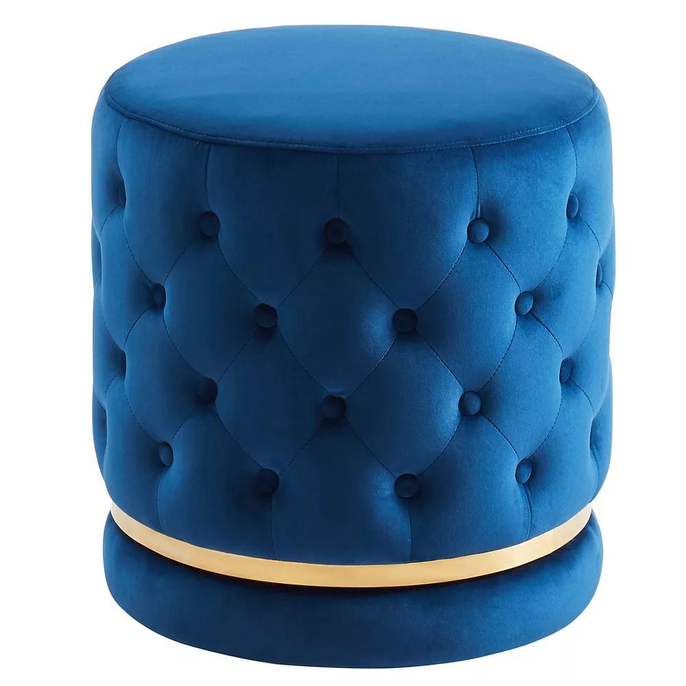 round swivel ottoman blue gold