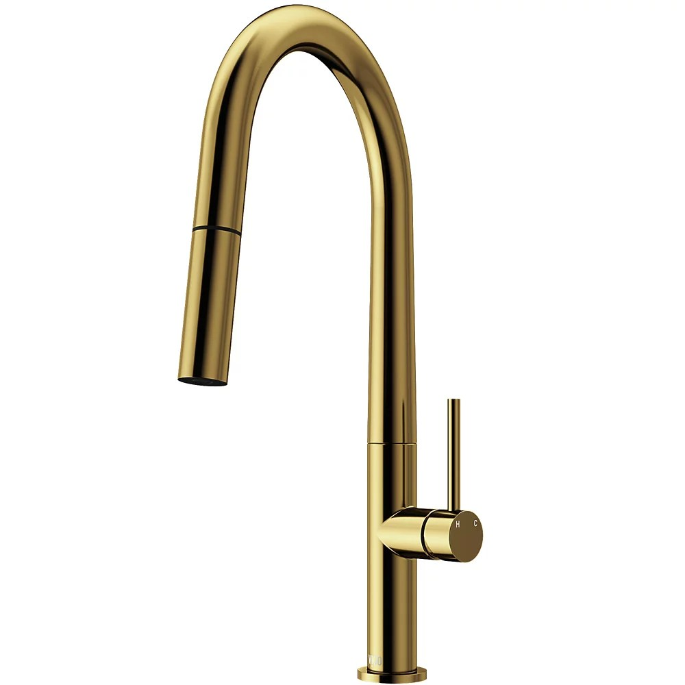 greenwich single handle pull down sprayer kitchen faucet in matte gold