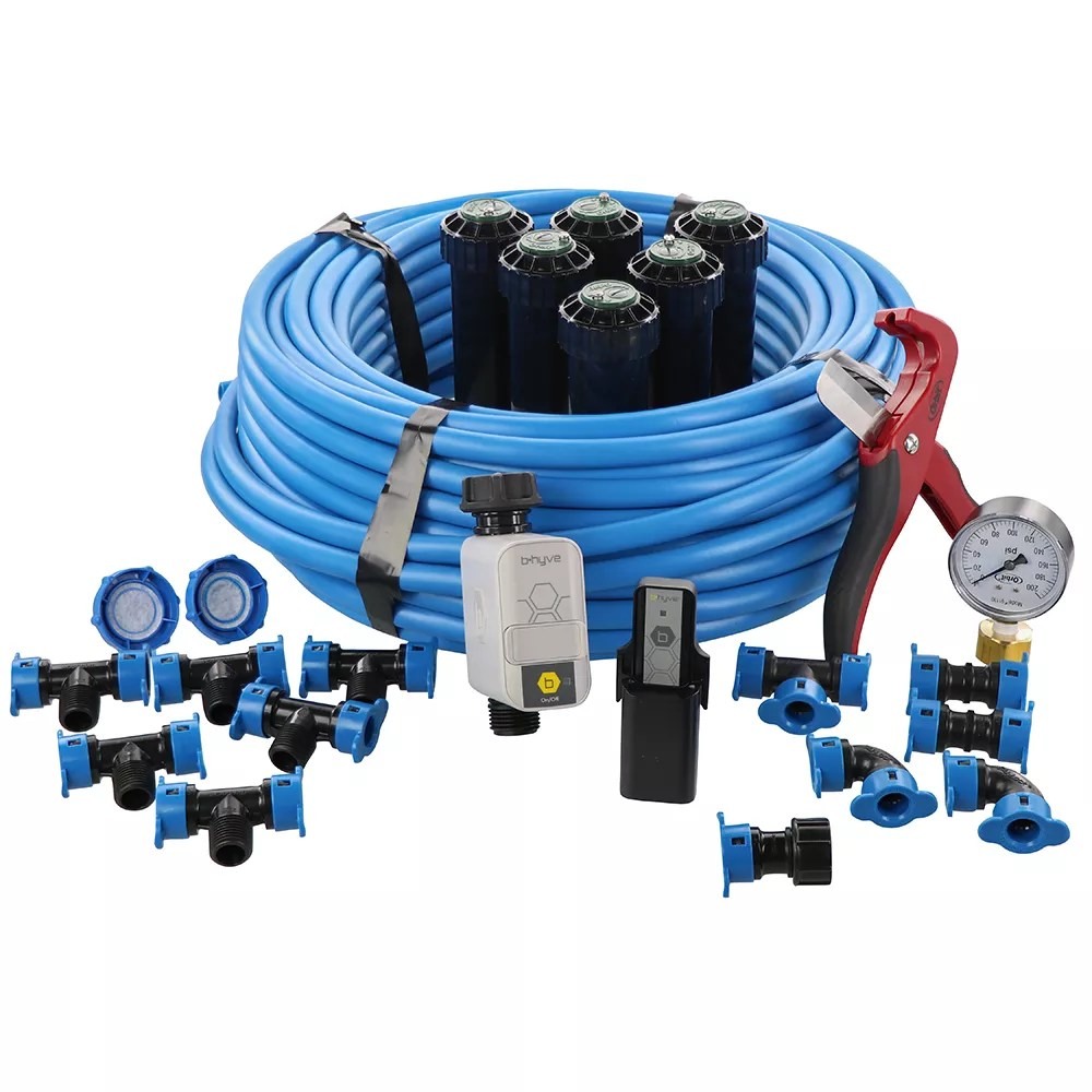 in ground sprinkler system with blu lock system and b hyve hose faucet timer with wifi hub