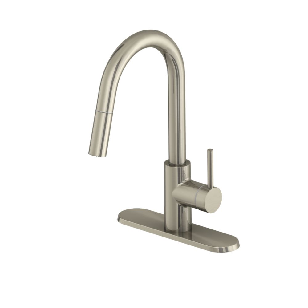 haisley single handle pull down kitchen faucet in stainless steel