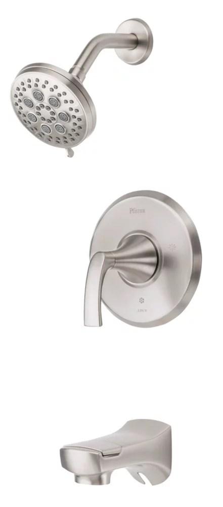 karci tub and shower kit in spot defense brushed nickel