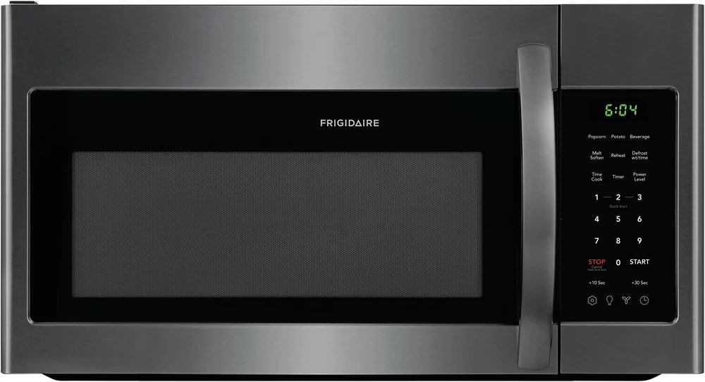 30 inch w 1 8 cu ft over the range microwave in black stainless steel