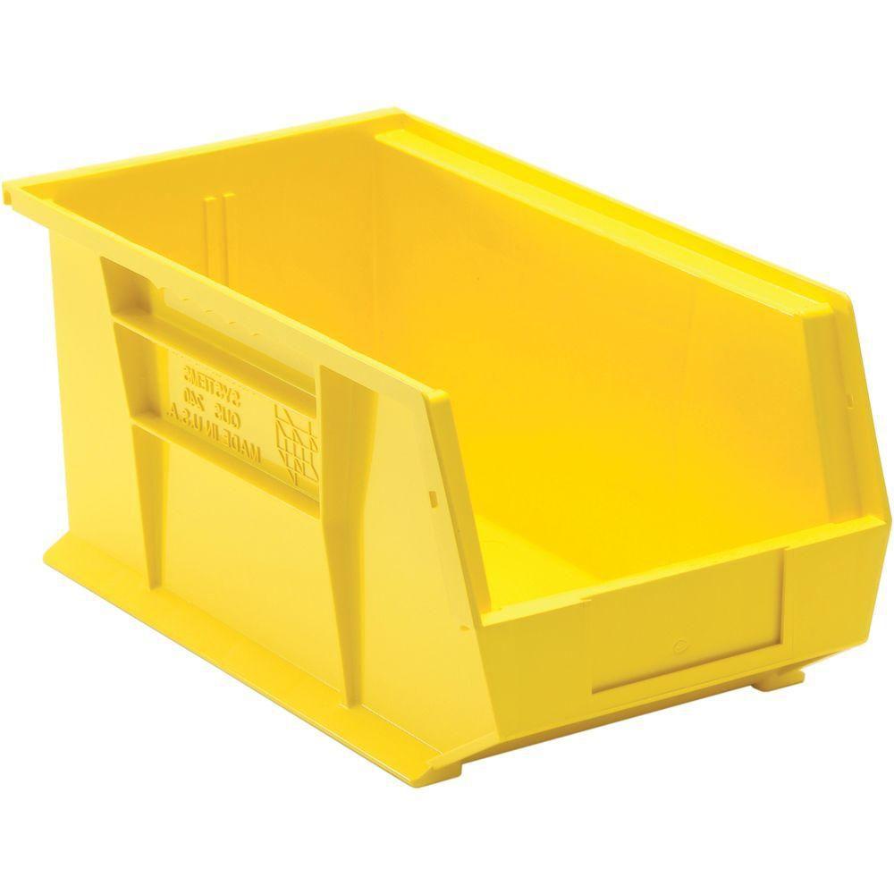 3 4 gal bac de rangement en plastique empilable en jaune paquet de 12