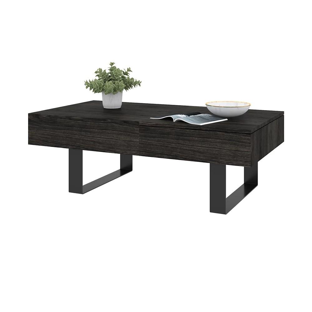 lyra lift top coffee table black oak