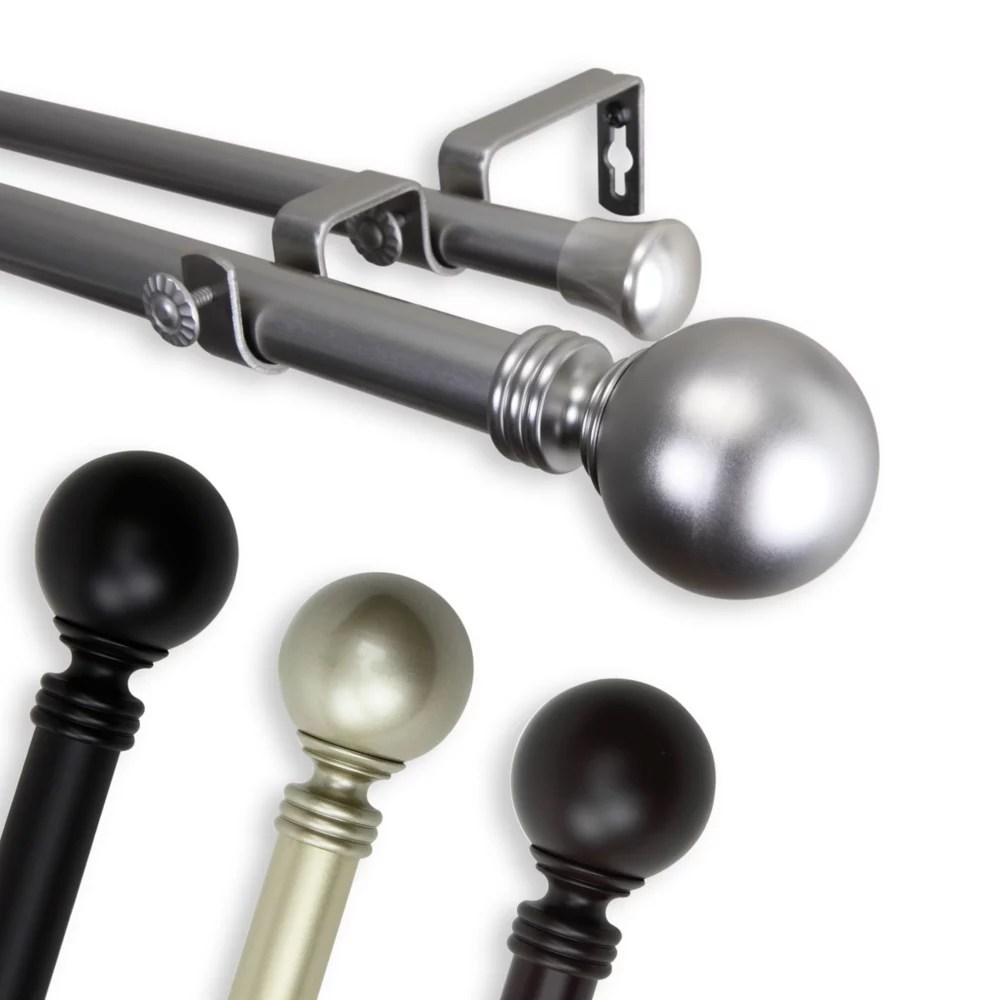 1 in dia adjustable 66 to 120 double curtain rod with globe finials in light gold