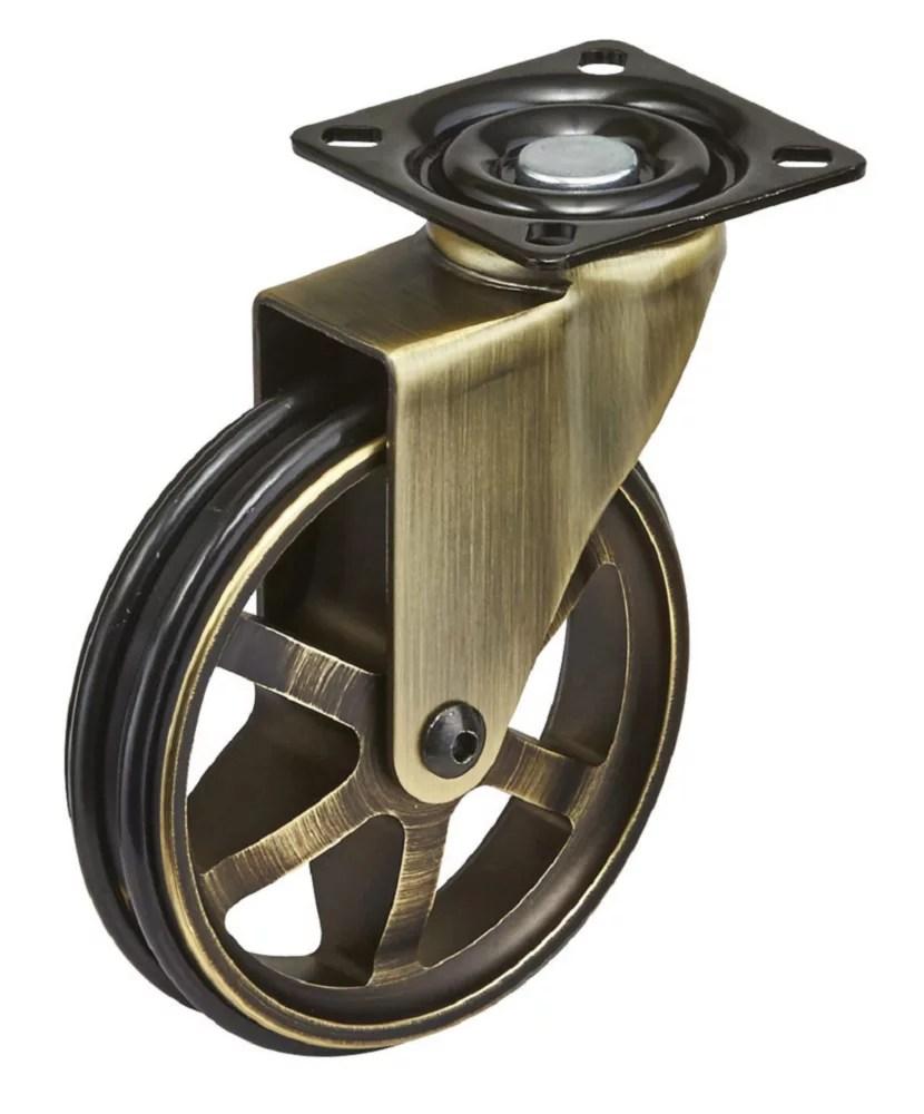 roulette vintage simple en aluminium pivotante sans frein avec plaque laiton rustique