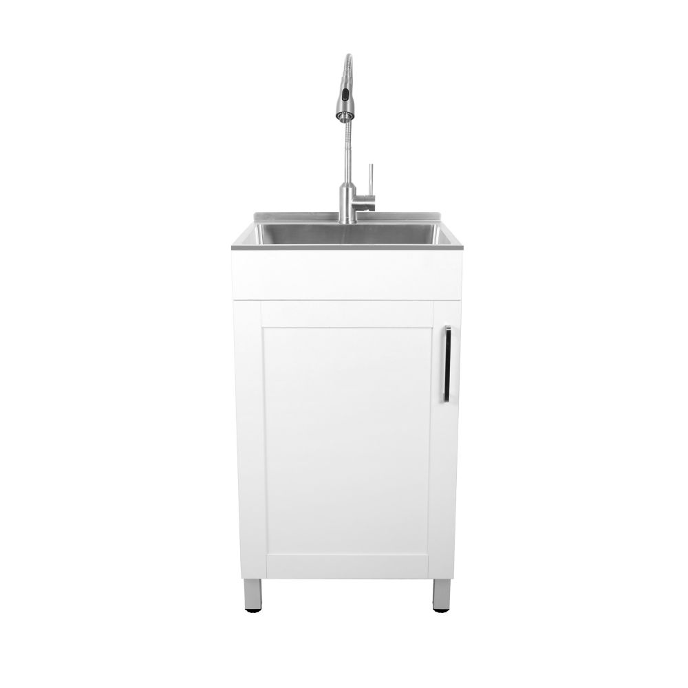all in one 20 inch small space laundry cabinet with stainless steel sink and faucet