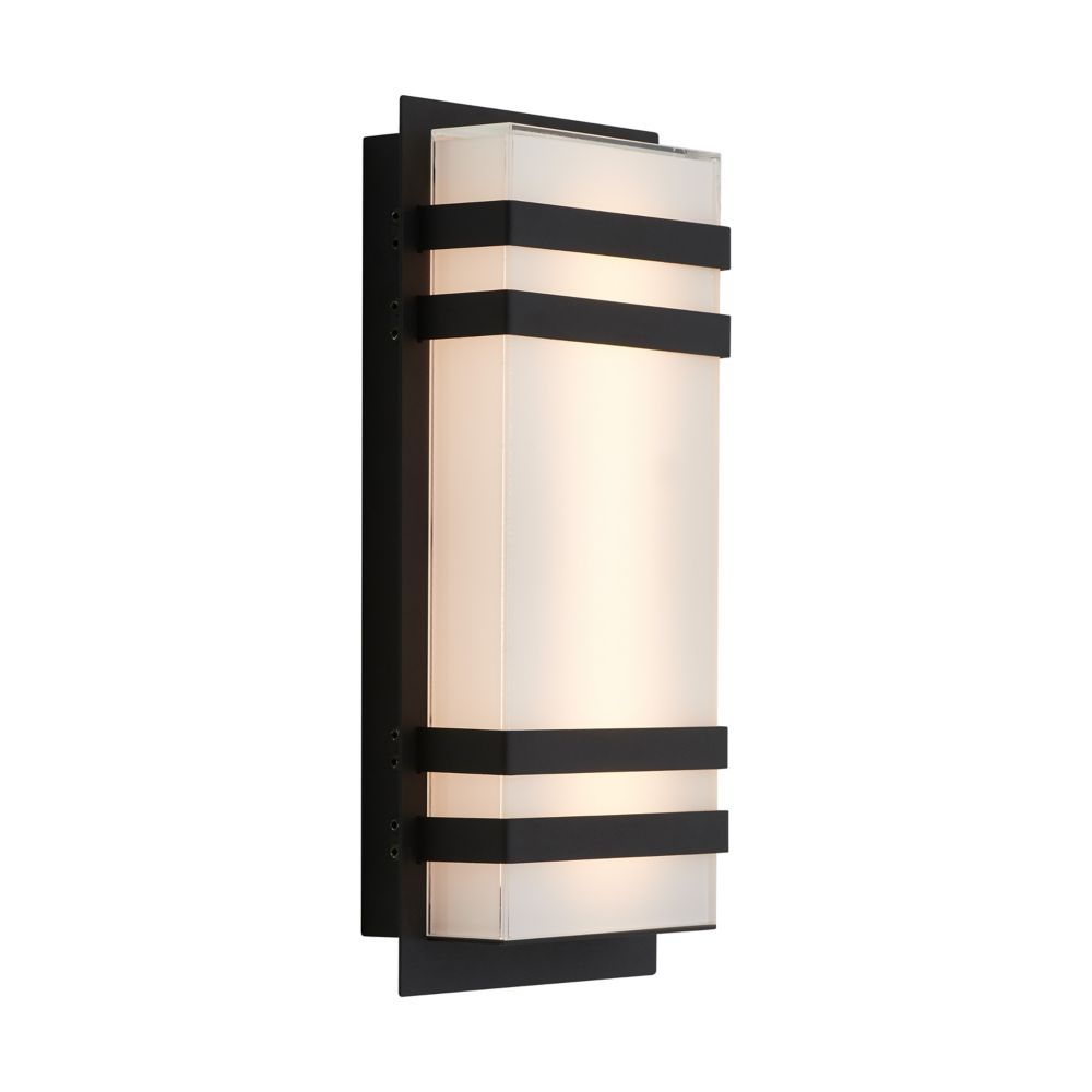 glowbox 3 black integrated led indoor outdoor wall light
