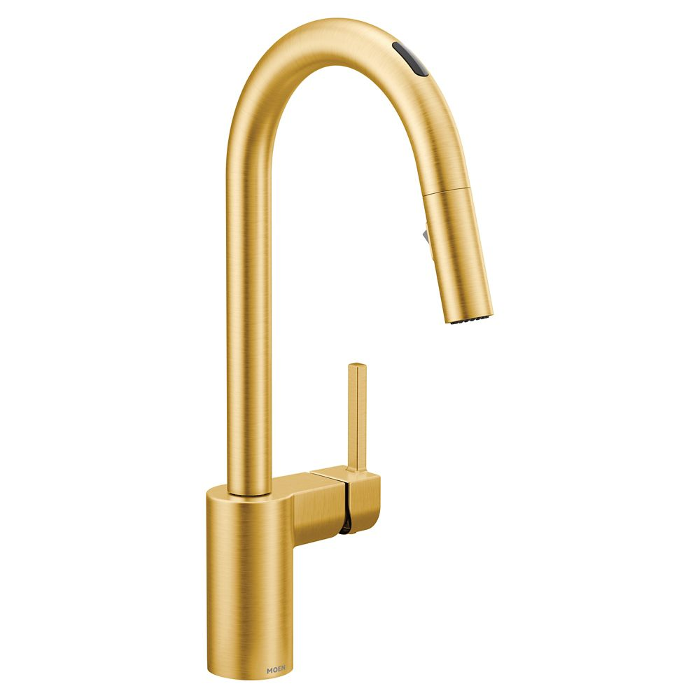 u by moen align pull down smart kitchen faucet in brushed gold