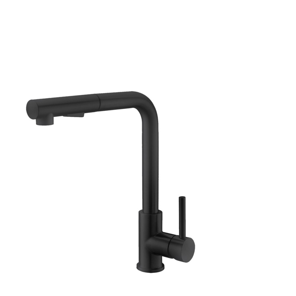 single handle pull down sprayer kitchen faucet in matte black stainless steel