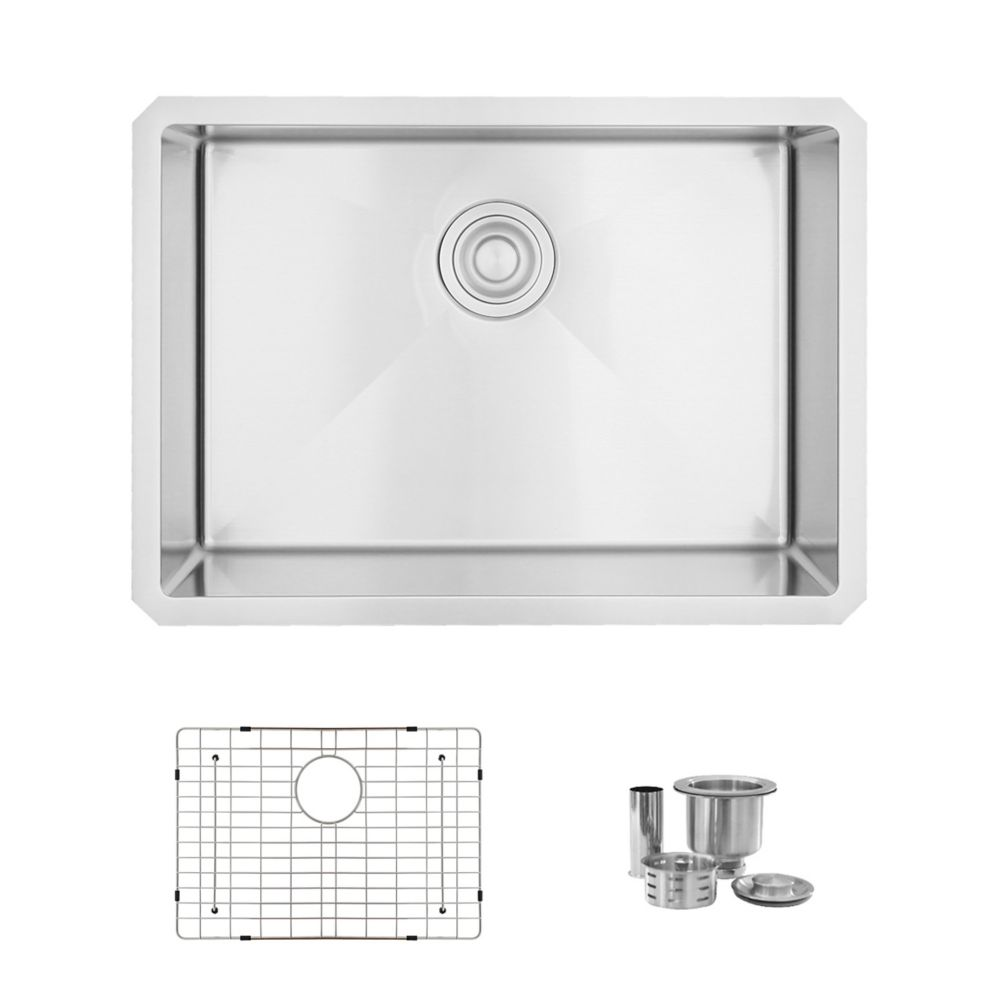 25l x 18w inch undermount single bowl 16 gauge stainless steel kitchen sink with grid and strainer
