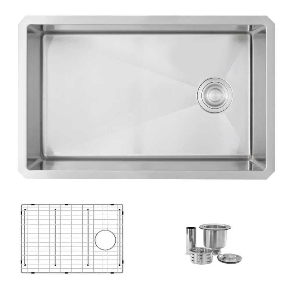 28 inch l x 18 inch w undermount single bowl stainless steel kitchen sink with grid strainer