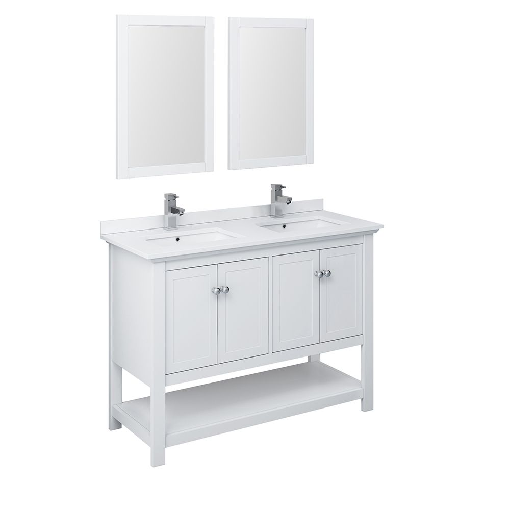 manchester 48 inch white traditional double sink bathroom vanity with mirrors