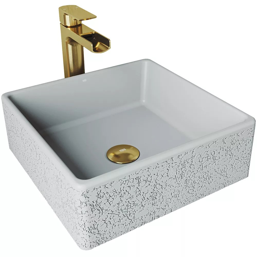 aster concrete vessel sink in ash with faucet in matte gold