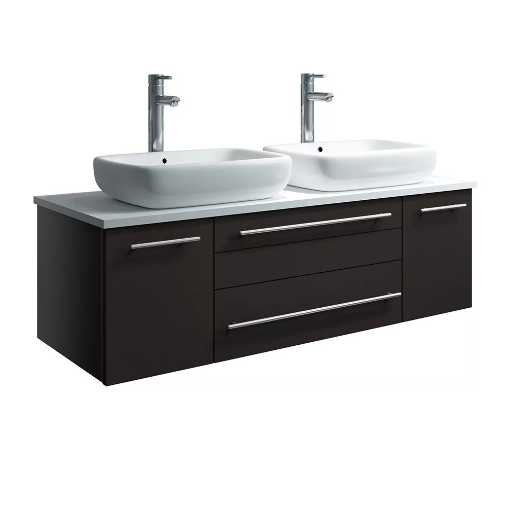 lucera 48 inch espresso wall hung double vessel sink modern bathroom vanity