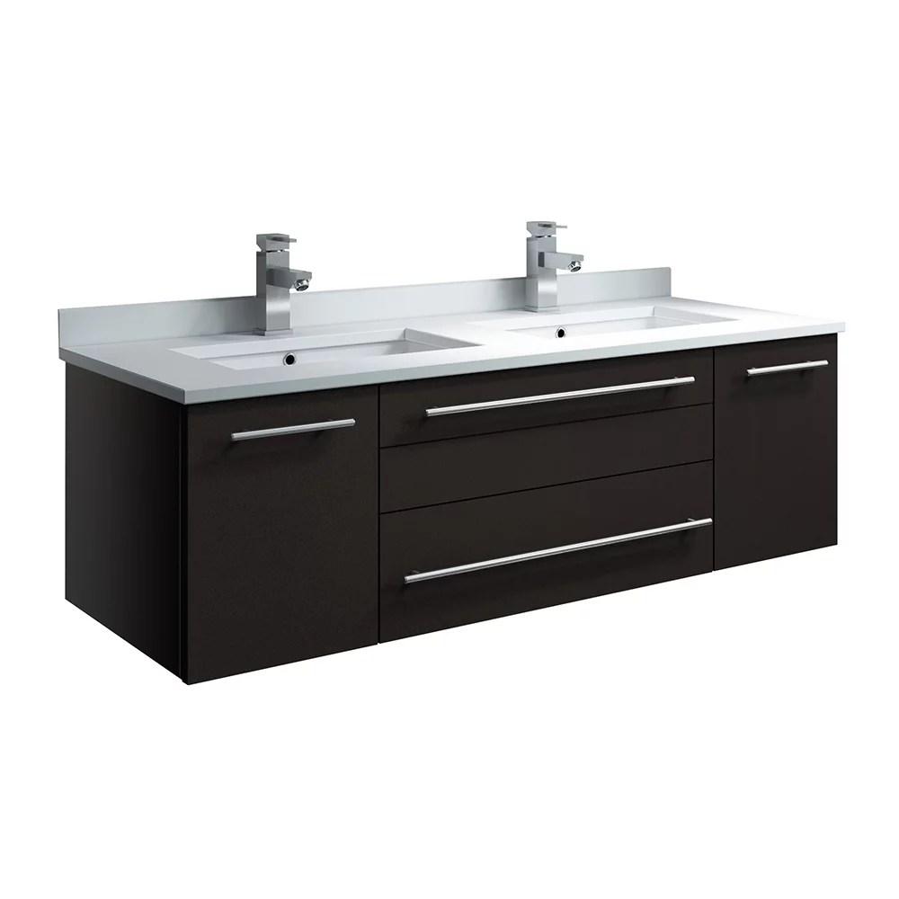 lucera 48 inch espresso wall hung double undermount sink modern bathroom vanity