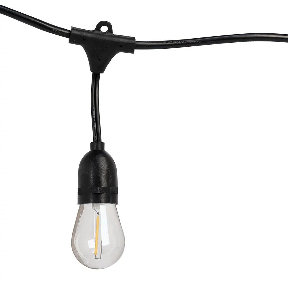 48 ft 24 socket led indoor outdoor string light set with filament led bulbs