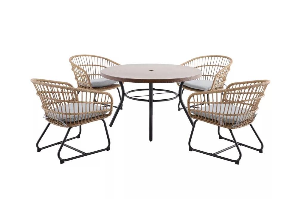 cayman grey 5 piece all weather wicker patio dining set