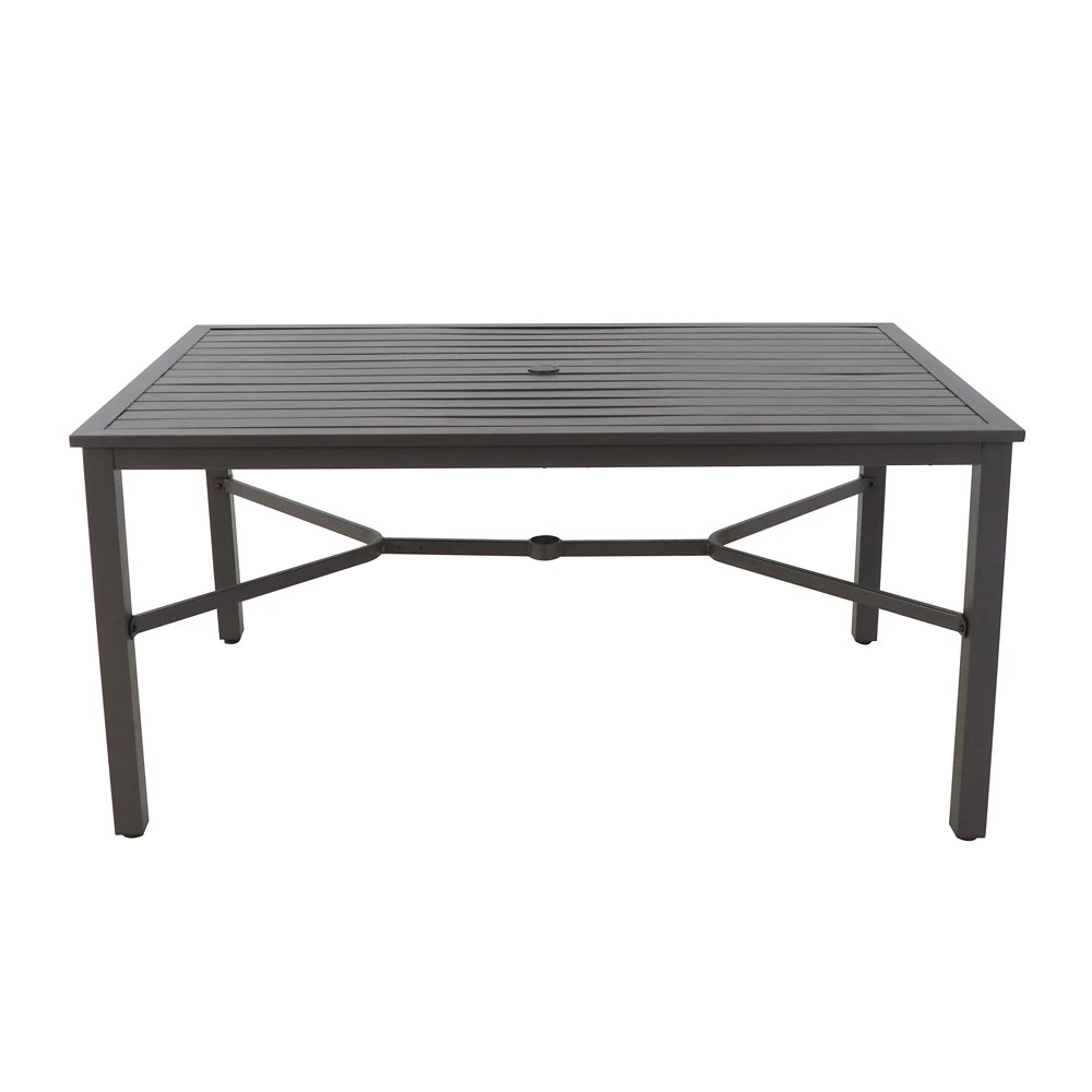 mix match rectangle 60 inch x 37 inch patio slat dining table in graphite