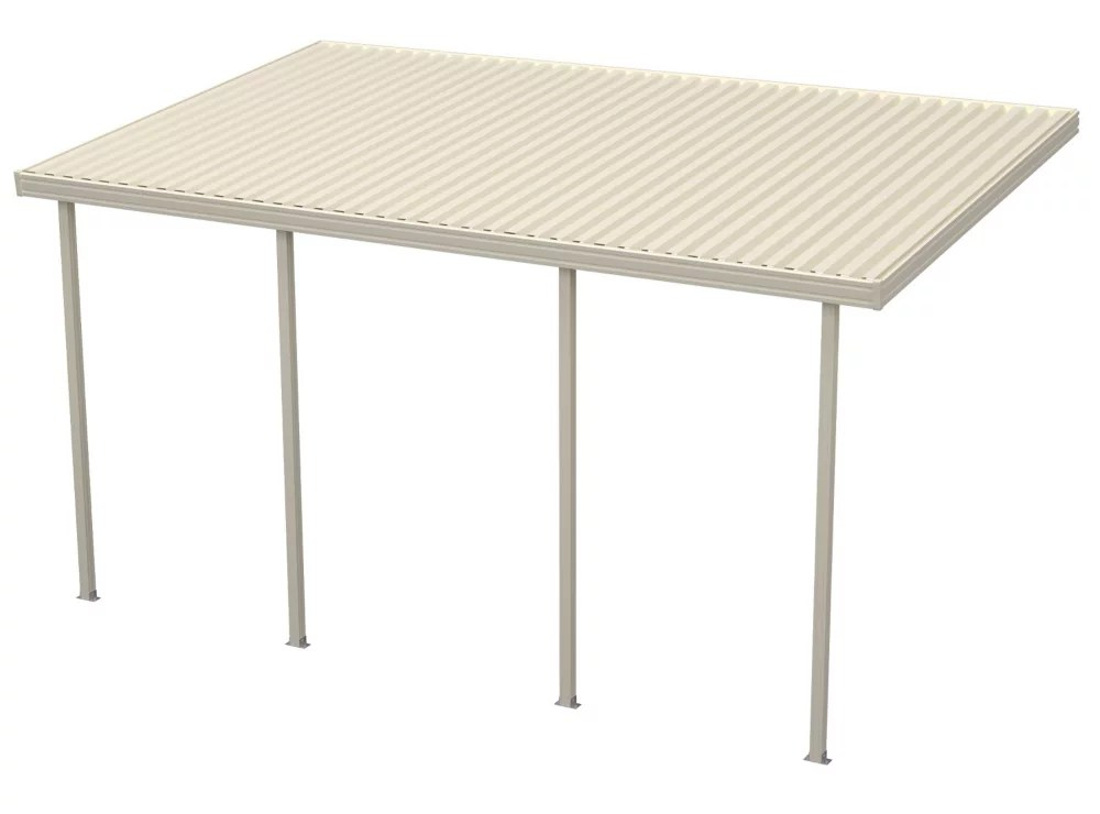 8 ft x 16 ft ivory aluminum attached solid patio cover with 4 posts maximum roof load 30 lbs