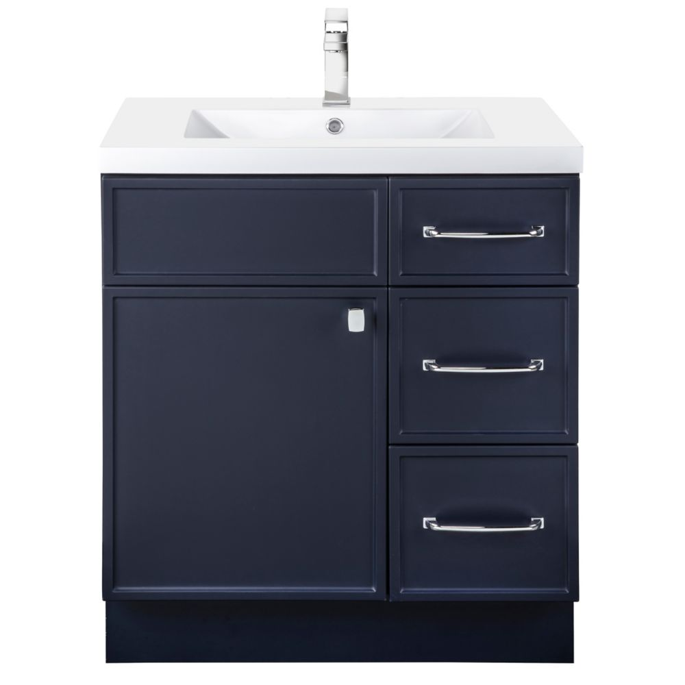 manhattan 30 inch w x 36 1 2 inch h x 21 inch d 1 dr 3 drw single sink free standing vanity blue with rectangle basin
