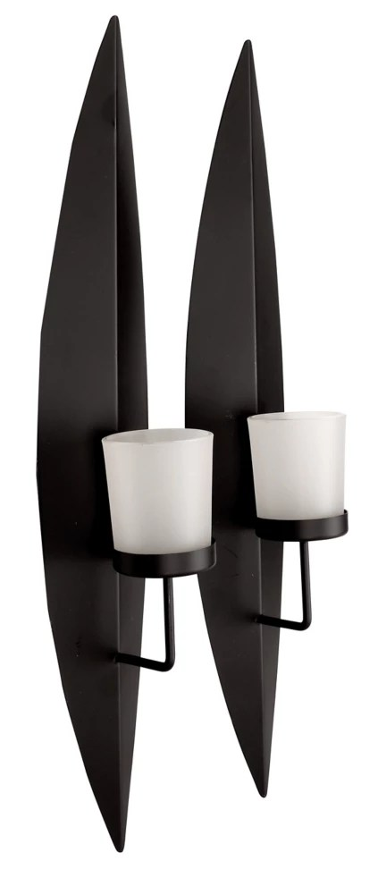 set of 2 black metal candle wall sconces with glass 18 x3 5