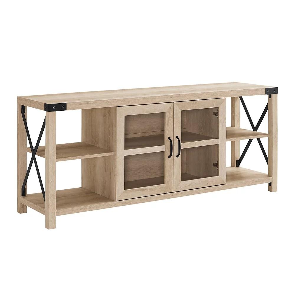 meuble pour televiseur en metal en x de style campagnard de 152 cm 60 po chene blanc