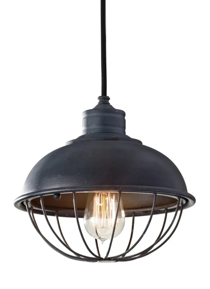 urban renewal 1 light antique forged iron outdoor hanging pendant