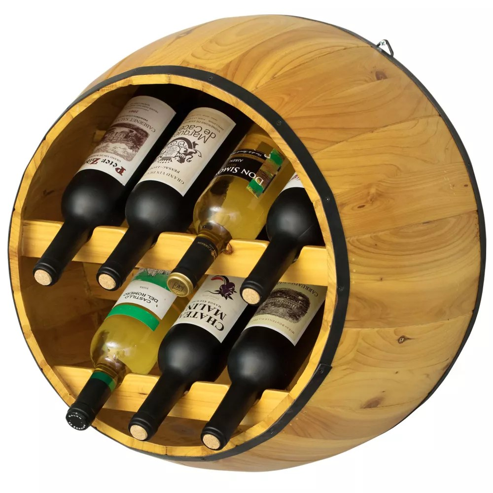 wooden hanging wine barrel wine rack