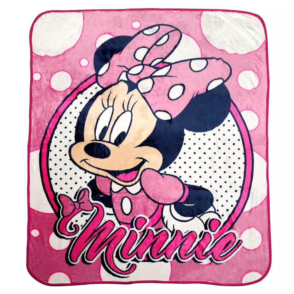 disney minnie mouse throw blanket pillow set