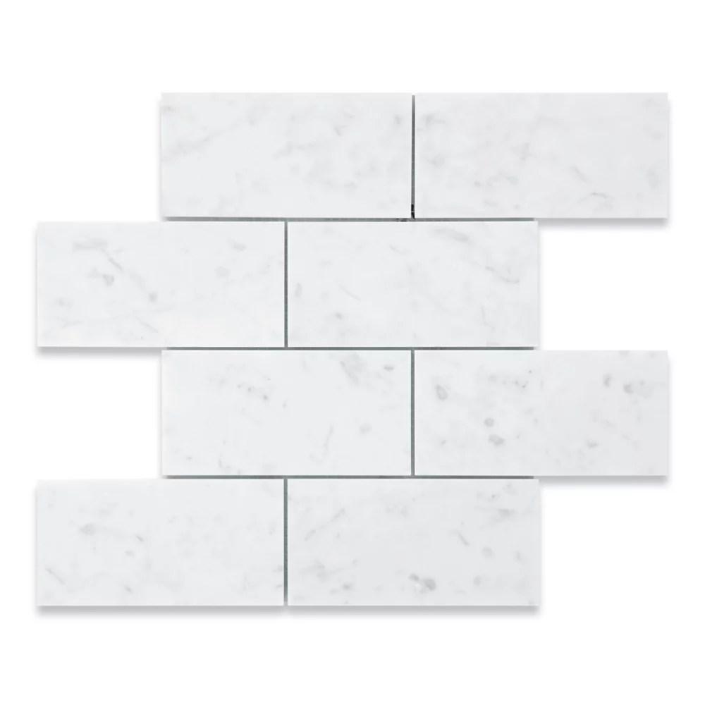 italian bianco carrara honed 3 inch x 6 inch marble floor and wall mosaic tile