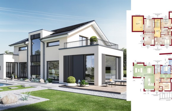 6 Bedrooms Home design Plan Concept-M 154