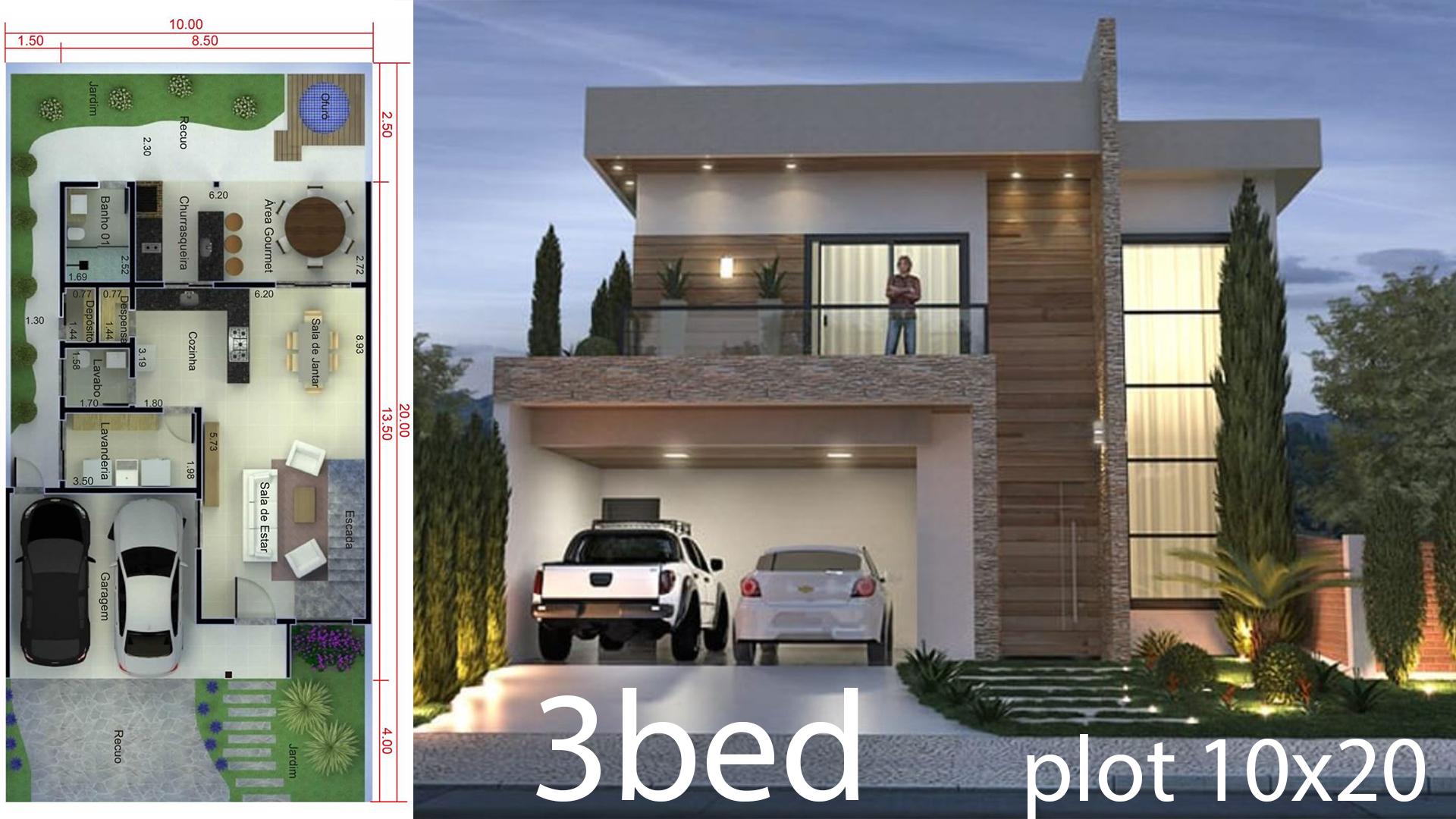 3 Bedrooms Home Design 10x20 Meters - Home Ideas