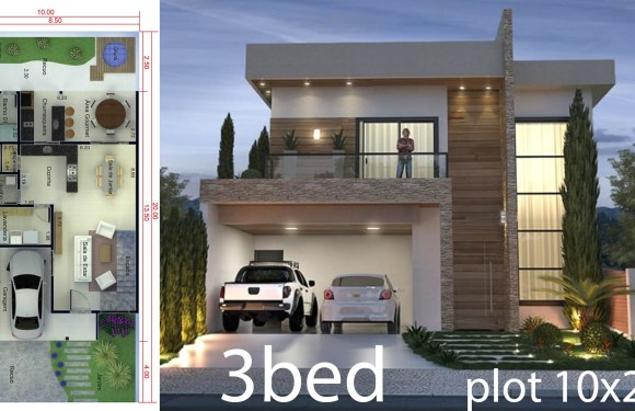 3 Bedrooms Home Design 10×20 Meters