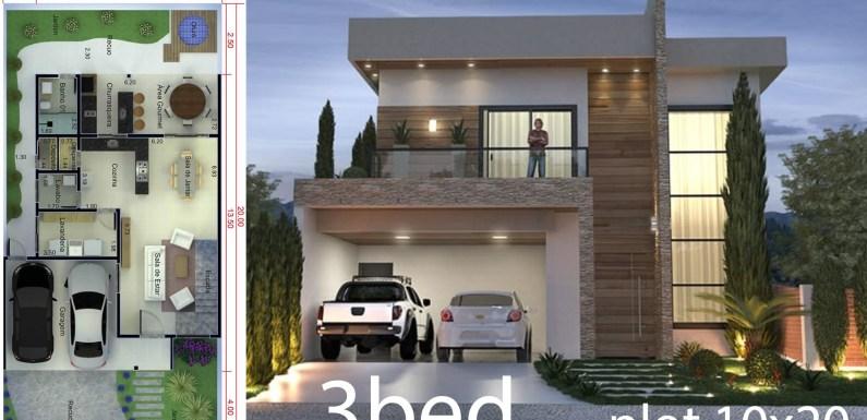 3 Bedrooms Home Design 10×20 Meters