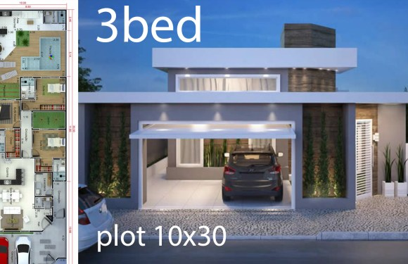Home design 10x30m with 3 bedrooms