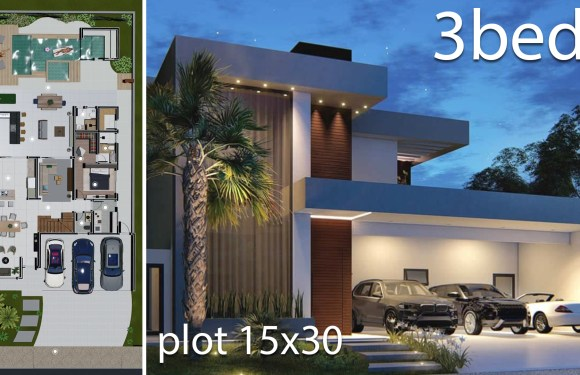 Home Design 15×30 Meters 3 Bedrooms