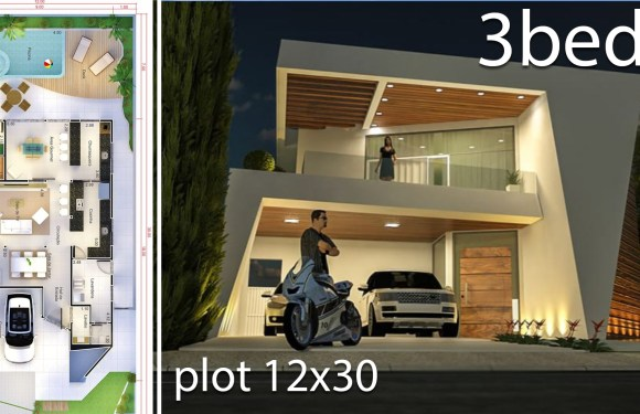 Modern Home Design 12×30 Meters 3 Bedrooms