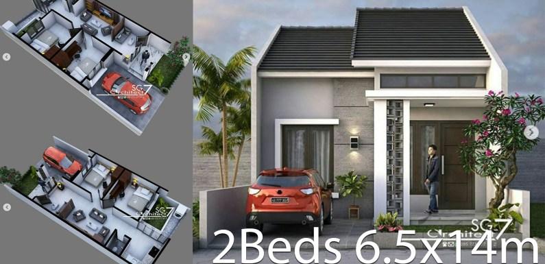 2 Bedrooms Home design Plan 6.5x14m