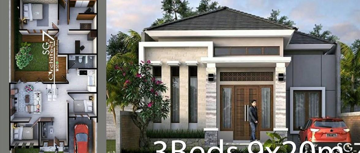 3 Bedrooms Home design plan 9x20m