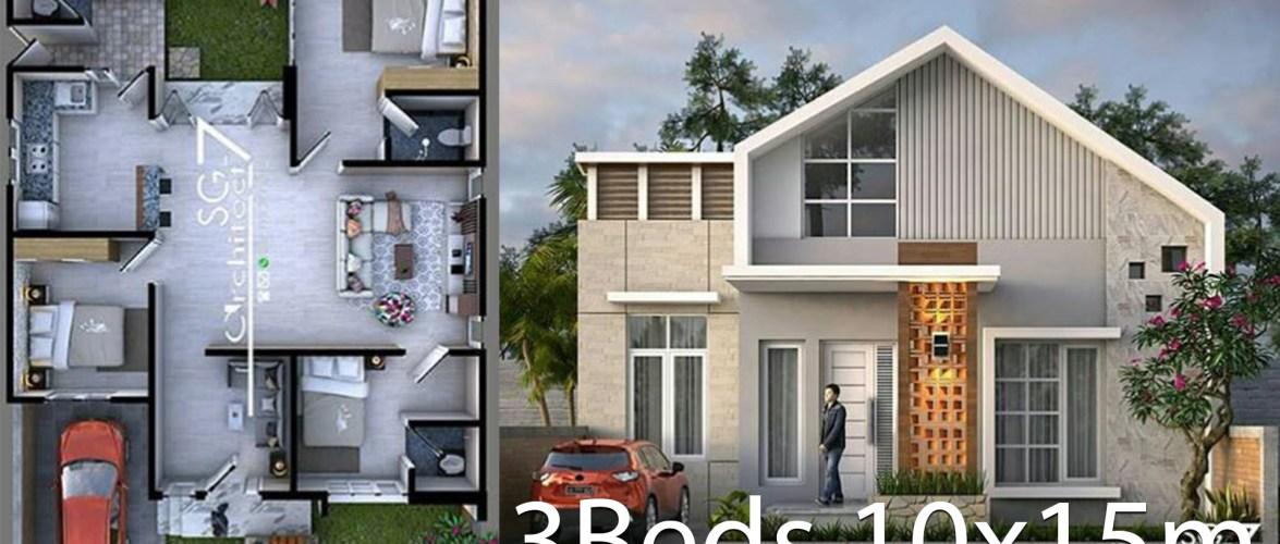 3 bedrooms home design plan 10x15m