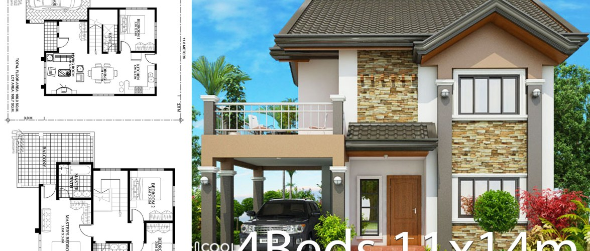Home design plan 11x14m with 4 bedrooms