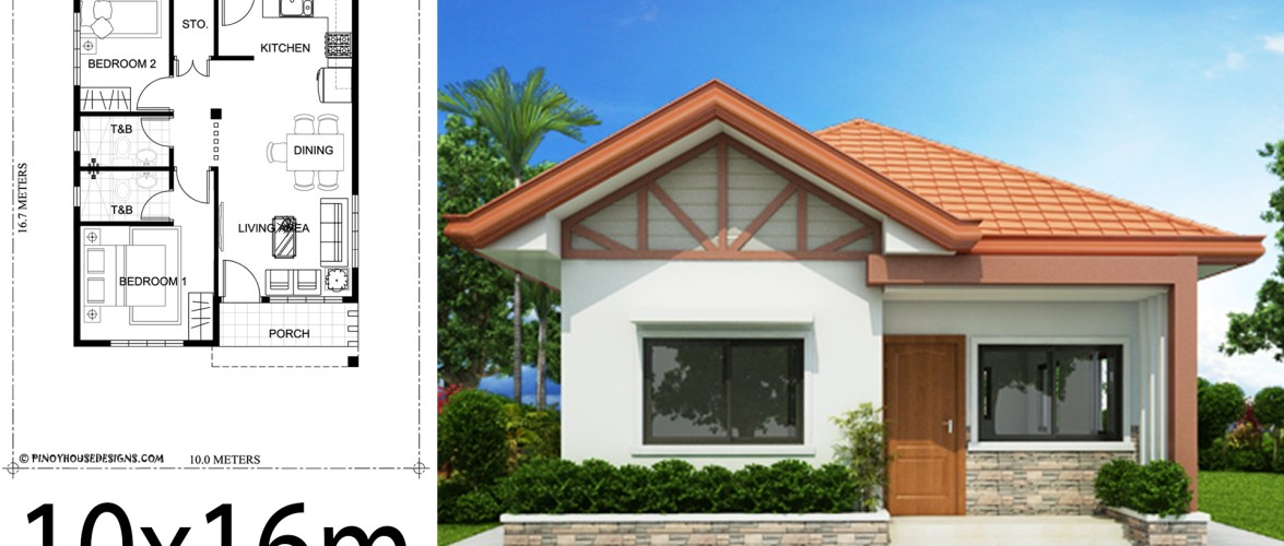 Home design plan 10x16m with 2 bedrooms