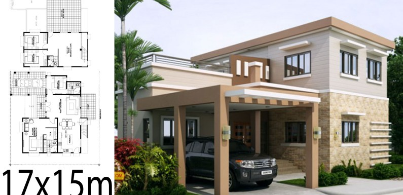 Home design 17x15m with 4 bedrooms